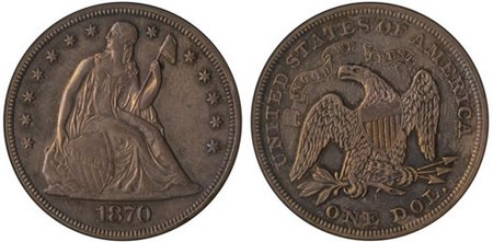 1870-S Seated Liberty Dollar Eliasberg Specimen