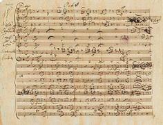 Рукопись девятой симфонии Моцарта