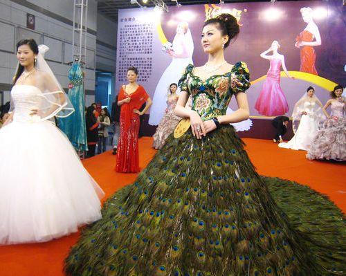 Платье перо павлина